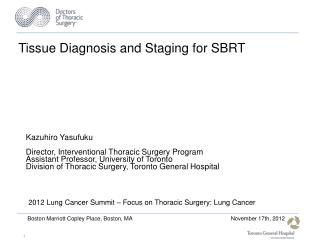 Tissue Diagnosis and Staging for SBRT