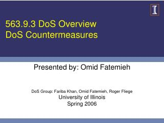 563.9.3 DoS Overview DoS Countermeasures