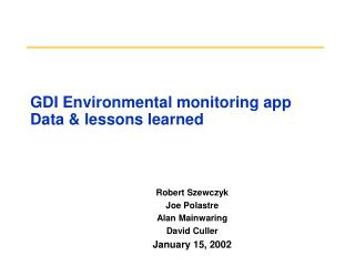 GDI Environmental monitoring app Data & lessons learned