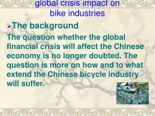 global crisis impact on  bike industries