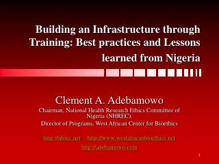 Building an Infrastructure through Training: Best practices and Lessons learned from Nigeria
