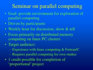 Seminar on parallel computing