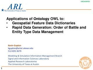 Applications of  Ontology  OWL to: Geospatial Feature Data Dictionaries