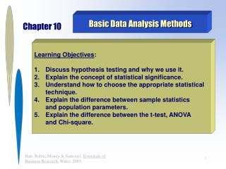 Basic Data Analysis Methods