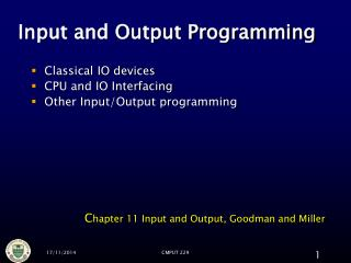Input and Output Programming