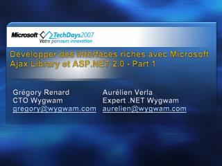 D velopper des interfaces riches avec Microsoft Ajax Library et ASP 2.0 - Part 1