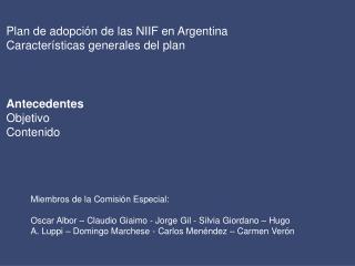 Plan de adopci n de las NIIF en Argentina Caracter sticas generales del plan