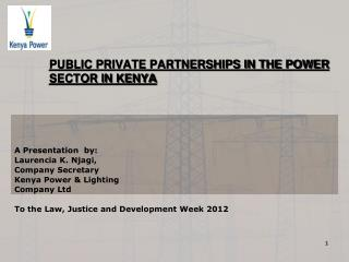 PUBLIC PRIVATE PARTNERSHIPS IN THE POWER SECTOR IN KENYA