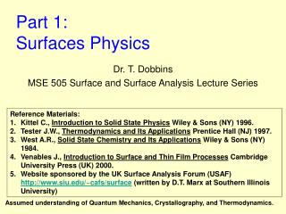 Part 1:  Surfaces Physics