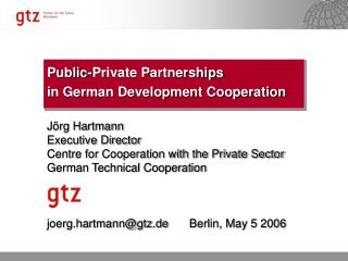 Public-Private Partnerships in German Development Cooperation