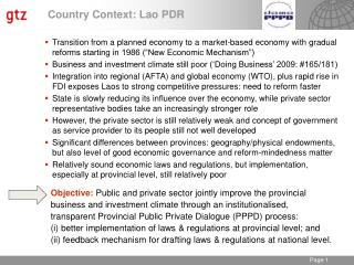 Country Context: Lao PDR