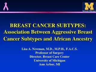 BREAST CANCER SUBTYPES: Association Between Aggressive Breast Cancer Subtypes and African Ancestry