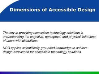 Dimensions of Accessible Design