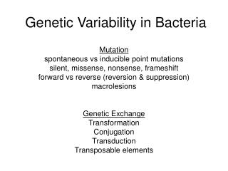 Genetic Variability in Bacteria