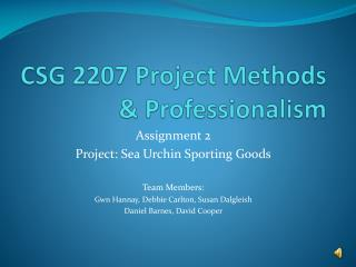 CSG 2207 Project Methods & Professionalism