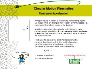 Circular Motion Kinematics Centripetal Acceleration