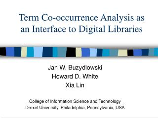 Term Co-occurrence Analysis as an Interface to Digital Libraries