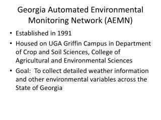 Georgia Automated Environmental Monitoring Network (AEMN)