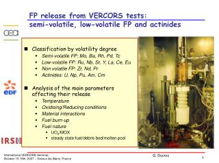 FP release from VERCORS tests: semi-volatile, low-volatile FP and actinides