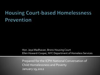 Housing Court-based Homelessness Prevention An Evaluation of NYC's Housing Help Program
