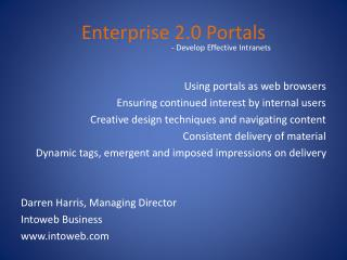 Enterprise 2.0 Portals