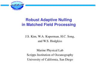 Robust Adaptive Nulling in Matched Field Processing