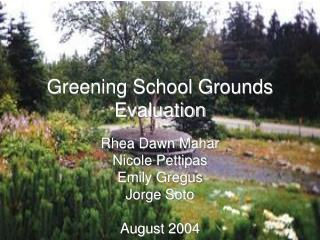 Greening School Grounds Evaluation