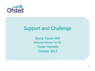 Support and Challenge Elaine Taylor HMI National Adviser for ML Tower Hamlets October 2013