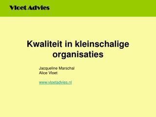 Kwaliteit in kleinschalige organisaties