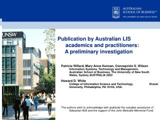 Publication by Australian LIS academics and practitioners:      A preliminary investigation