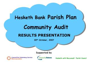 Hesketh Bank  Parish Plan   Community Audit