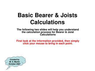 Basic Bearer & Joists Calculations