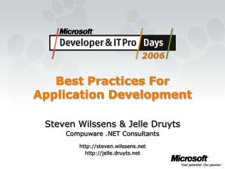 Best Practices For Application Development