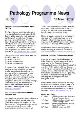 Pathology Programme News No. 33 1 st  March 2012