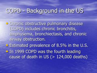 COPD - Background in the US