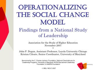 Operationalizing the Social Change Model