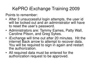 KePRO iExchange Training 2009