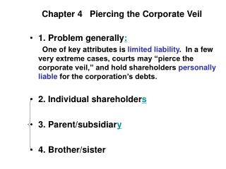 Chapter 4   Piercing the Corporate Veil
