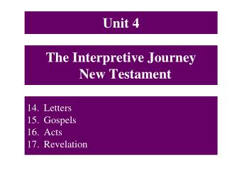 The Interpretive Journey New Testament
