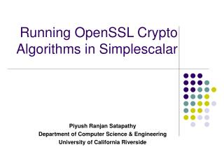 Running OpenSSL Crypto Algorithms in Simplescalar