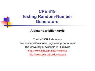 CPE 619 Testing Random-Number Generators