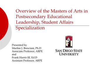 Overview of the Masters of Arts in Postsecondary Educational Leadership