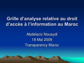 Grille d analyse relative au droit  d acc s   l information au Maroc