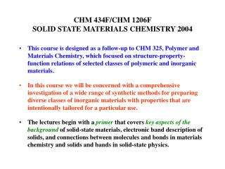 CHM 434F/CHM 1206F  SOLID STATE MATERIALS CHEMISTRY 2004