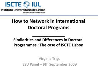 Virgínia Trigo ESU Panel  –  9th September  2009