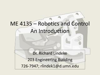 ME 4135   Robotics and Control An Introduction