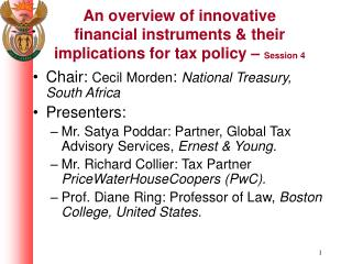 An overview of innovative financial instruments & their implications for tax policy –  Session 4