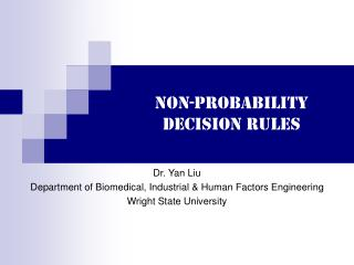Non-probability decision rules