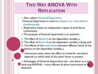 Two Way ANOVA With Replication