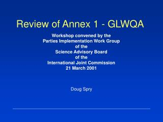 Review of Annex 1 - GLWQA